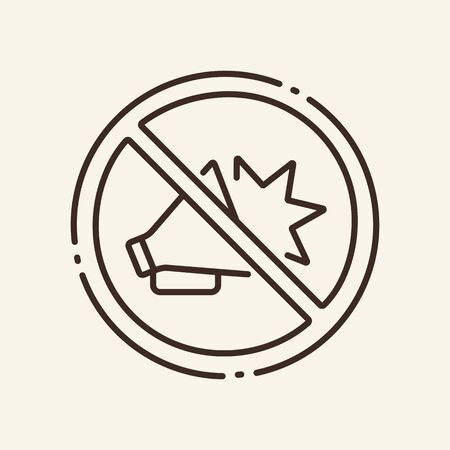 Prohibition of public campaign thin line icon. No rally, stop, speaker, noise isolated outline sign. Artificial intelligence concept. Vector illustration symbol element for web design and apps.