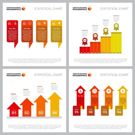 Collection of creative infographic layout can be used for web design, presentation slide, advertising. Business and marketing concept with bar and arrow charts