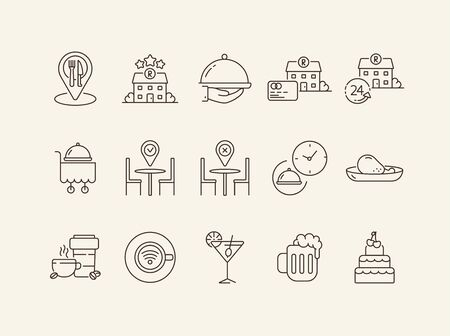 Best restaurant service line icon set. Dish or cart, location pointer, cocktail isolated outline sign pack. Restaurant business concept. Vector illustration symbol elements for web design and apps Banque d'images - 134861876