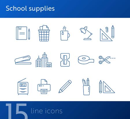 School supplies icon set. Line icons collection on white background. Pencil, document, workplace. Stationary concept. Can be used for topics like education, office, homework Ilustração