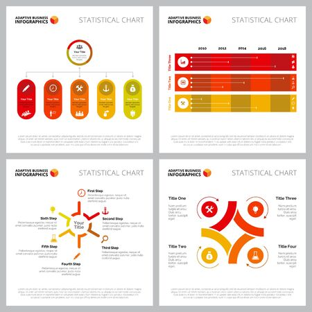 Multicoloured infographic template collection can be used for web design, presentation slide, reports. Business concept with timeline, process organizational charts Иллюстрация