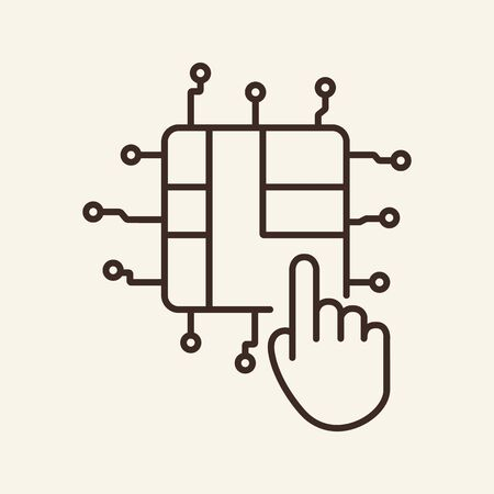 Interaction thin line icon. Cursor, hand pushing on CPU or microchip isolated outline sign. Artificial intelligence concept. Vector illustration symbol element for web design and apps