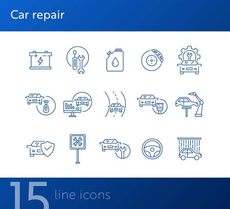 Car repair line icons. Set of line icons. Accumulator, tools, car shower. Car repair concept. Vector illustration can be used for topics like car service, business, advertising Ilustracja