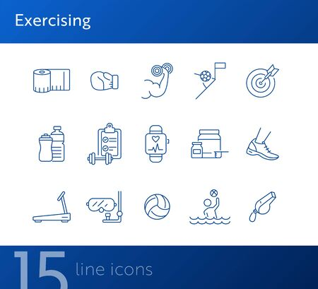 Exercising line icon set. Supplement, game, exercising. Healthy lifestyle concept. Can be used for topics like physical activity, leisure, wellness Foto de archivo - 134860965