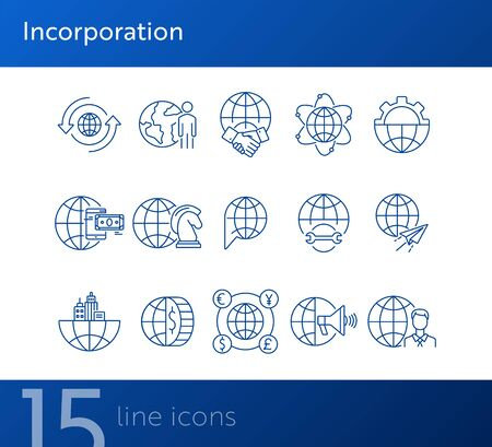 Incorporation line icon set. Currency, businessman, world, agreement. Business concept. Can be used for topics like partnership, worldwide business, multinational collaboration