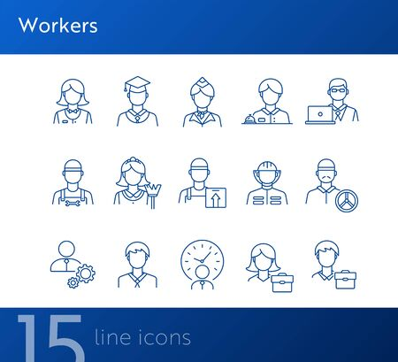 Workers icons. Set of line icons on white background. Courier, businessman, stewardess. Occupation concept. Vector illustration can be used for topics like career, skill, service