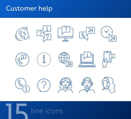 Customer help line icon set. Information and question marks, call center employees, mobile phone. Online support concept. Can be used for topics like help, service, contact center Illustration