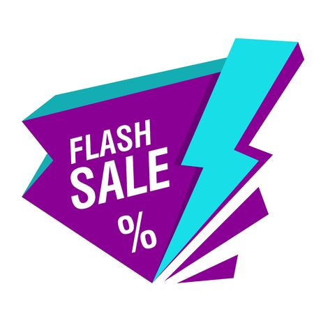 Flash sale banner with lightning bolt. White background. Big sale, special offer, discounts. Sale concept