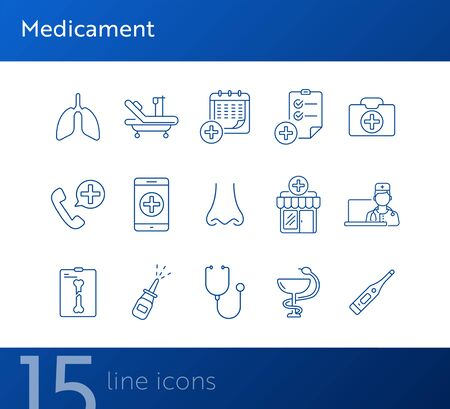 Medicament icons. Set of line icons. Drugstore, ambulance call, medical calendar. Medical treatment concept. Vector illustration can be used for topics like medicine, healthcare, medical service Zdjęcie Seryjne - 134742205