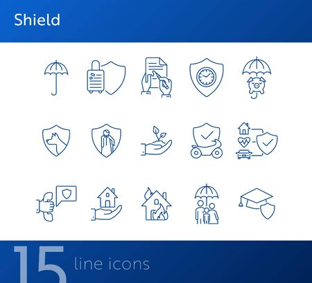 Shield line icon set. Security, accident, damage. Protection concept. Can be used for topics like safeguard, insurance, property Illusztráció
