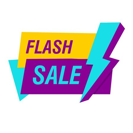 Flash sale sticker with blue lightning bolt. White background. Big sale, special offer, discounts. Sale concept