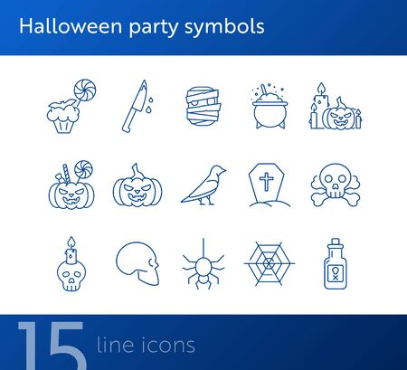 Halloween party symbols icons. Jack o Lantern, spider, net. Halloween concept. Vector illustration can be used for topics like holiday, festivals, celebration