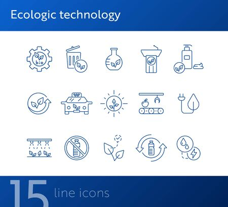 Ecologic technology icons. Set of line icons. Dustbin, plant, recycling. Eco technology concept. Vector illustration can be used for topics like ecology, technology, environment Ilustracja