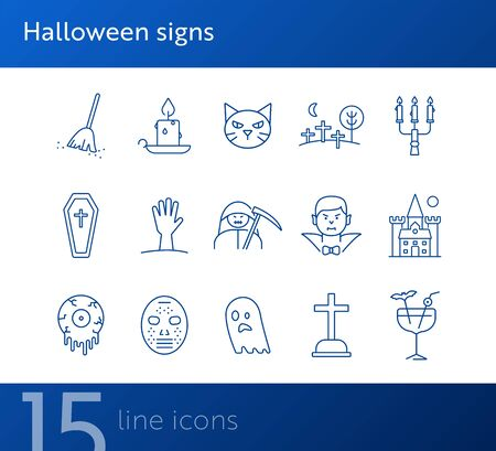 Halloween signs icons. Cat, Dracula, crossed bones. Halloween concept. Vector illustration can be used for topics like holiday, festivals, celebration 向量圖像