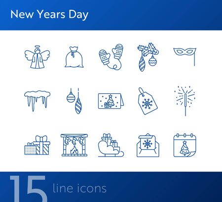New Years Day thin line icon collection. Bengal fire, calendar, angel sign pack. Winter holidays concept. Vector illustration symbol elements for web design and apps Stock Illustratie