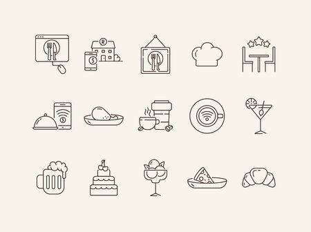 Restaurant app line icon set. Award stars, mobile payment, dessert, pizza isolated outline sign pack. Restaurant business concept. Vector illustration symbol elements for web design. Banque d'images - 134771365