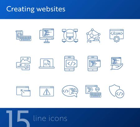 Creating websites icons. Set of line icons. Computer network, firewall, coding. Encryption concept. Vector illustration can be used for topics like internet, encoding Illusztráció