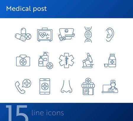Medical post icons. Set of line icons. Human nose, laboratory, medical dose. First aid concept. Vector illustration can be used for topics like medicine, healthcare, medical service