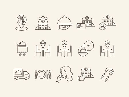 Table reservation app line icon set. Food delivery order, bbq, romantic dinner, cart isolated outline sign pack. Restaurant business concept. Vector illustration symbol elements for web design. Banque d'images - 134771257