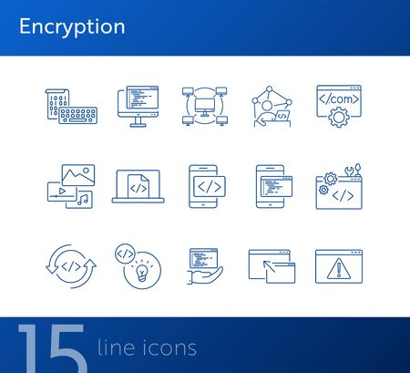 Encryption line icons. Set of line icons. Computer network, firewall, coding. Encryption concept. Vector illustration can be used for topics like internet, encoding