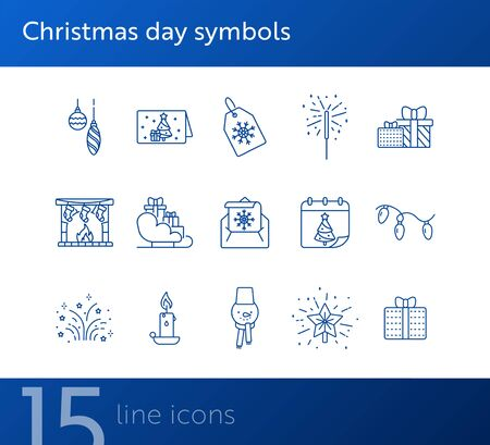 Christmas day symbols thin line icon set. Star, baubles, letter sign pack. Winter holidays concept. Vector illustration symbol elements for web design and apps Illustration