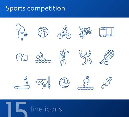 Sports competition line icon set. Water sport, tennis, cycling. Physical activity concept. Can be used for topics like sport, entertainment, leisure
