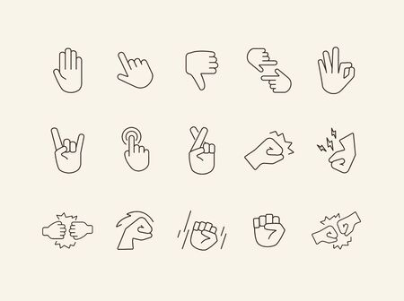 Set of sign language line icons. Gesturing isolated sign pack. Gesture concept. Vector illustration symbol elements for web design