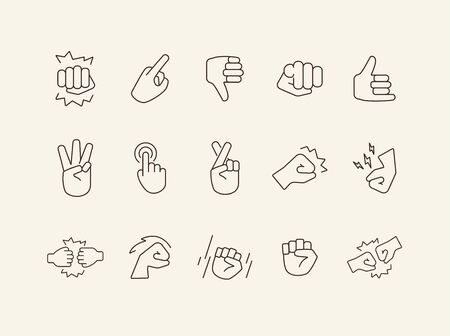 Set of sign language thin flat icons. Gesturing isolated sign pack. Gesture concept. Vector illustration symbol elements for web design