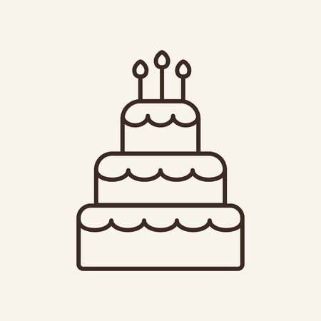 Cake thin line icon. Concept of creamy product or calories and sugar meal on white background. Vector illustration symbol elements for web design and apps. Иллюстрация