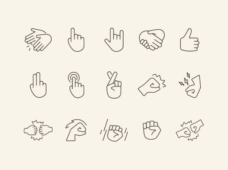 Sign language line icon set. Gesturing isolated sign pack. Gesture concept. Vector illustration symbol elements for web design Ilustrace