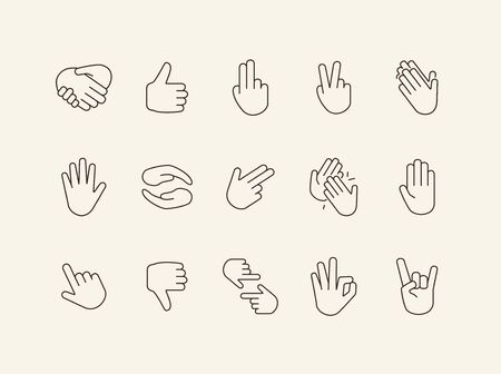 Hand signs line icons. Gesturing isolated sign pack. Sign language concept. Vector illustration symbol elements for web design Ilustrace