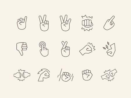Set of sign language flat line icons. Gesturing isolated sign pack. Gesture concept. Vector illustration symbol elements for web design Ilustrace