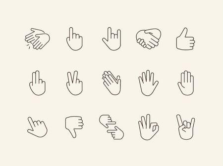 Gestures line icon set. Gesturing isolated sign pack. Gestures concept. Vector illustration symbol elements for web design Ilustrace