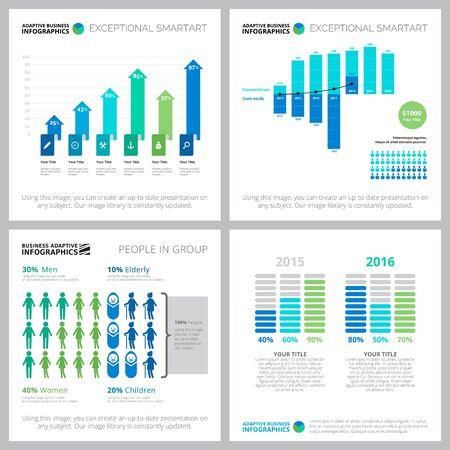 Diagrama creativo para informe estadístico, diseño web, plantilla de diapositiva de presentación. Estadísticas, población, concepto de demografía. Barra, porcentaje, gráficos comparativos