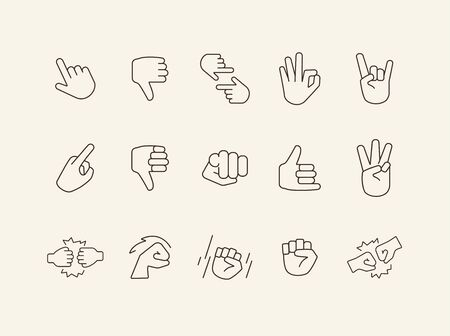 Collection of sign language thin line icons. Gesturing isolated sign pack. Gesture concept. Vector illustration symbol elements for web design Ilustrace