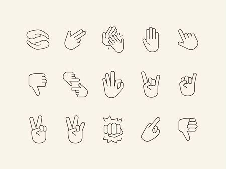 Hand signs line icon set. Gesturing isolated sign pack. Sign language concept. Vector illustration symbol elements for web design
