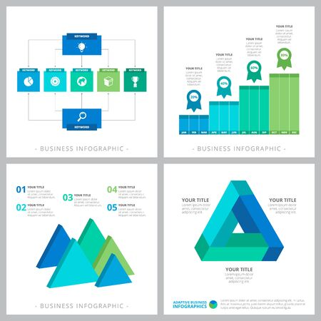 Creative infographic design set for business development, workflow layout, presentation slide template. Business, startup, planning concepts. Bar, flow and triangle process charts Иллюстрация