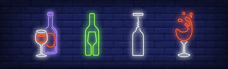 Drinking wine neon signs set. Bottle, glass, opener, corkscrew. Vector illustration in neon style, bright banner for topics like winery, celebration, alcoholic beverage