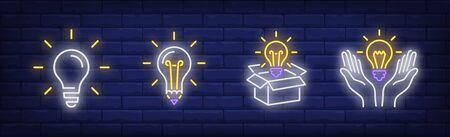 Lightbulbs neon sign set. Bulb, lamp, box, hands. Vector illustration in neon style, bright banner for topics like illumination, inspiration, idea