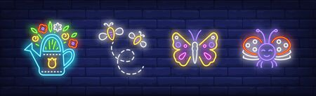 Summer time neon sign set. Bunch of flowers, bees, butterfly. Vector illustration in neon style, bright banner for topics like season, nature, vacation Illusztráció