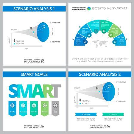 Set von originellen Business-Infografik-Designs für das Projektmanagement. Kann für Workflow-Layout, Jahresbericht, Präsentationsfolie, Webdesign verwendet werden. Geschäfts- und Buchhaltungskonzept mit Diagrammen