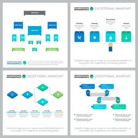 Entwicklungsinfografik-Layout-Set für Geschäftsanalyse, Jahresbericht, Präsentationen. Geschäfts- und Managementkonzept mit Ablauf-, Organisations- und Prozessdiagrammen Vektorgrafik