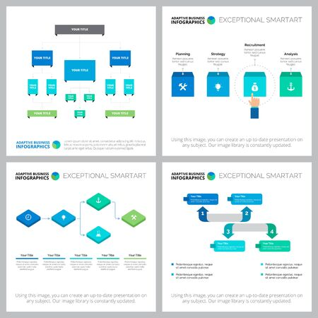 Opracowanie układu plansza do analizy biznesowej, raportu rocznego, prezentacji. Koncepcja biznesu i zarządzania z wykresami przepływu, organizacji i procesów Ilustracje wektorowe