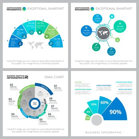 Infographic design set with for business. Can be used for workflow layout, presentation slide template. Business, startup, planning concepts. Pie, flow and percentage charts