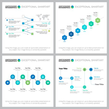 Creative infographic design set for planning, statistics, workflow layout, presentation slide template, project management. Business and research concepts with timeline and process charts