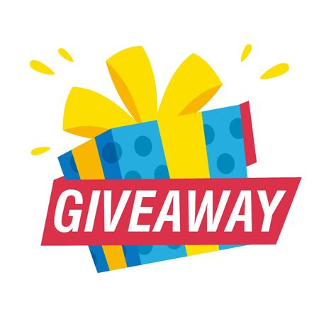 Giveaway banner template. Present and text on white background. Can be used for leaflets, brochures, announcements