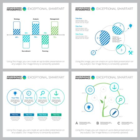 Business diagram layout set for managment layout, development report, presentations, web design, landings. Business and teamwork concept with process diagram, flow, bar and Venn charts