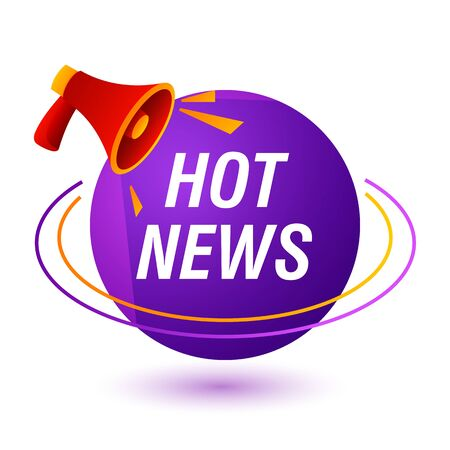 Hot news bright banner. Purple sign and red loudspeaker. Can be used for leaflets, brochures, announcements