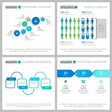 Infografika elementy projektu szablonów slajdów prezentacji. Może być używany do układu przepływu pracy, raportu rocznego, slajdu prezentacji, projektowania stron internetowych. Koncepcja biznesowa i księgowa z wykresami procesów Ilustracje wektorowe