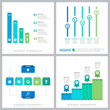 Set of business infographic slide designs. Can be used for workflow layout, annual report, presentation slide, web design. Business and accounting concept with bar and percentage charts Vetores